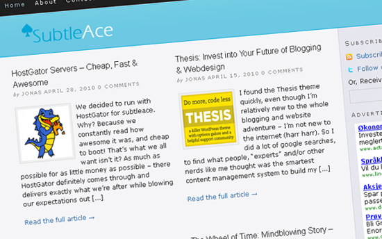 SubtleAce hjemmesiden