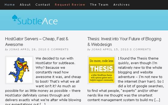 SubtleAce hjemmeside teasers