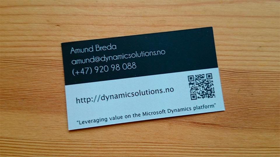 Dynamic Solutions Visittkort Bakside