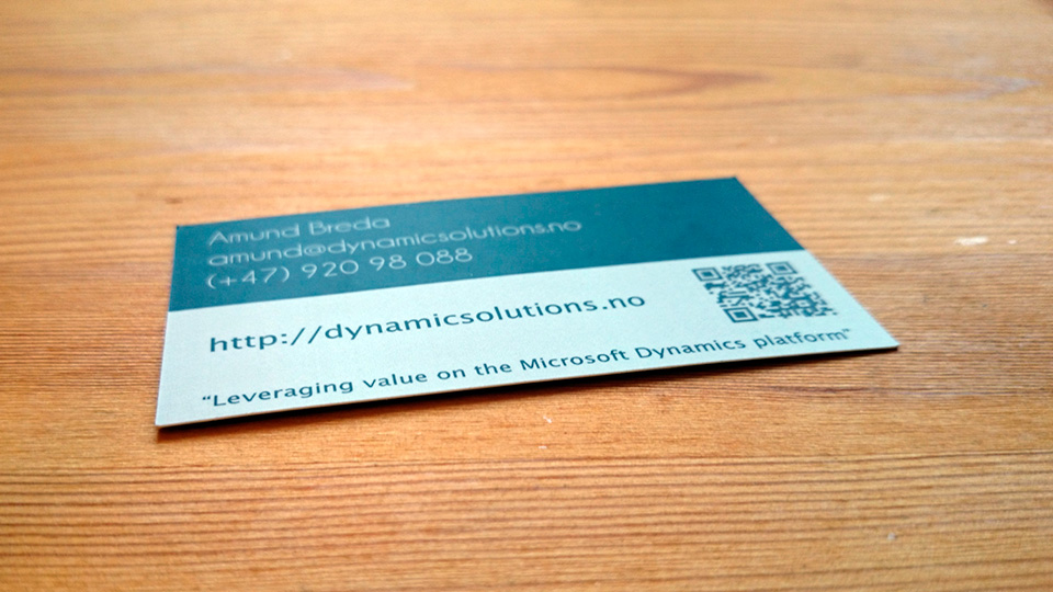 Dynamic Solutions Visittkort Liggende Bakside
