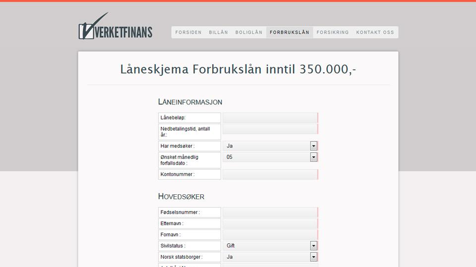 Verket Finans Lånesøknad